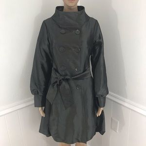 Coffee shop Metallic double breasted trench coat size medium